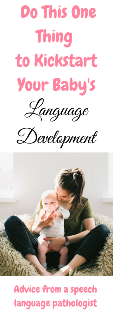 The EASIEST way to encourage language development in children. When do babies say mama?When do babies start making sounds? #childdevelopment #parentingtips